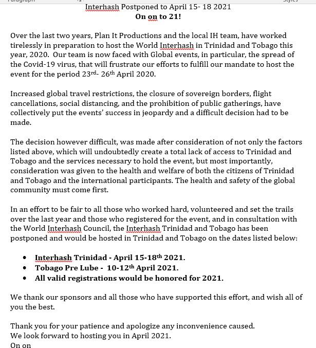 IH2020 postponed